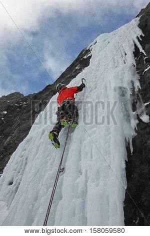 Ice-climbing in Canadian Rockies, Spray Lakes, Canada