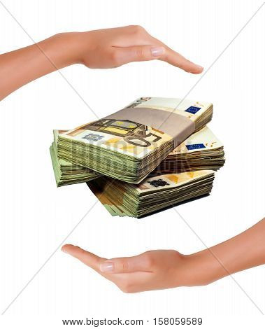 Fifty Euro Bills Stack between hands on white background concept of saving money and protection of investment
