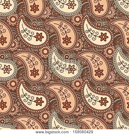 Autumn leaves flying feathers paisley seamless pattern