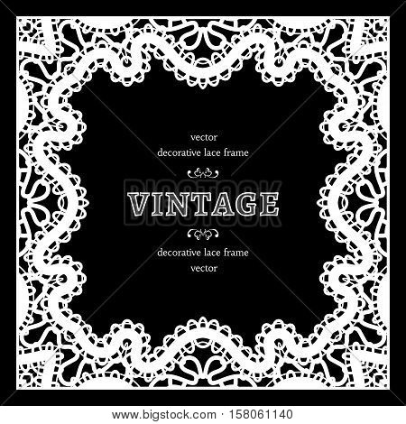 Vintage square frame with lacy border ornament black and white tatting lace napkin elegant decoration in retro style