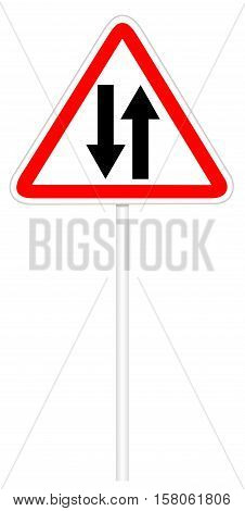 Warning traffic sign isolated on white 3D illustration - Two-way road