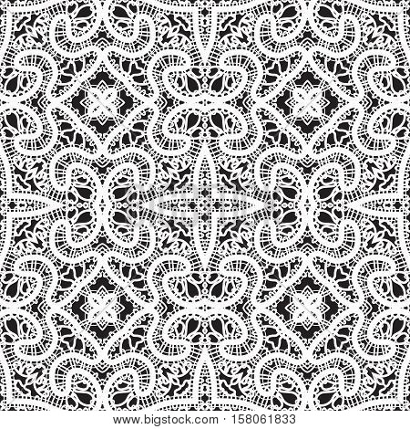 Black and white tulle ornament handmade tatting lace texture seamless pattern