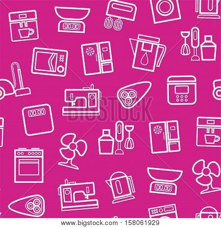 Appliances, background, seamless, pink. Vector white outline icons appliances for home and kitchen on a pink background.