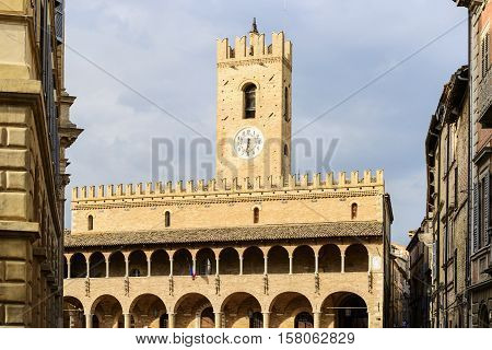 Townhall of Offida in Marche Italy in summer