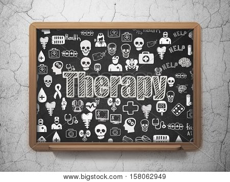 Medicine concept: Chalk White text Therapy on School board background with  Hand Drawn Medicine Icons, 3D Rendering