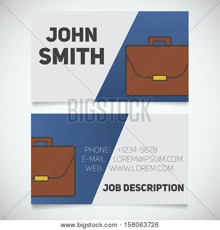 Business card print template with briefcase logo. Easy edit. Work management. Businessman. Advocate. Stationery design concept. Vector illustration