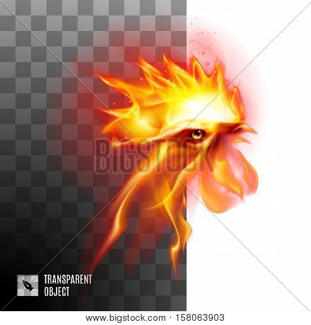 Fiery Rooster Head On Transparent Background Symbol Chinese New Two Thousand Seventeen
