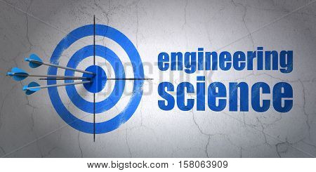 Success Science concept: arrows hitting the center of target, Blue Engineering Science on wall background, 3D rendering