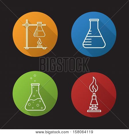School chemical laboratory. Flat linear long shadow icons set. Chemical reaction, lab burner, ring stand, flask with liquid. Vector line symbols