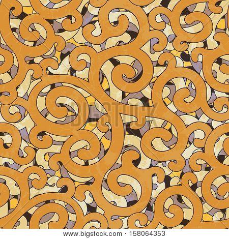 Seamless Grunge Abstract Colorful Damask Orange Yellow Purple Pattern