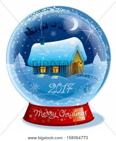 illustration of merry christmas magic crystal ball