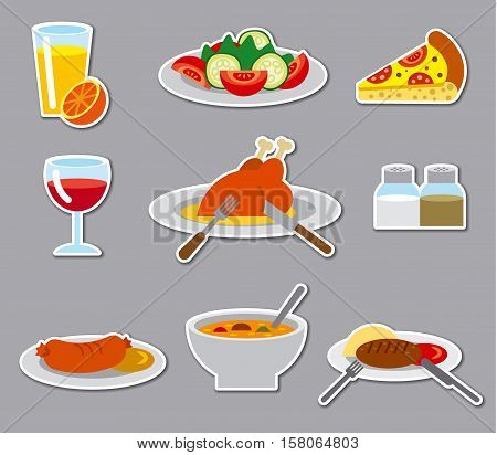 illustration of dinner food dinner stickers and badges