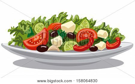 illustration of fresh greek salad with lettuce tomatoes and olives