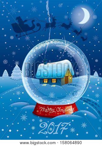 illustration of happy merry christmas celebration card