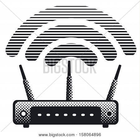 black and white illustration of wireless router and modem