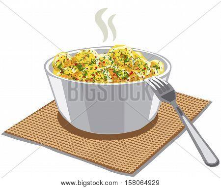 illustration of boiled potatoes in bowl on napkin