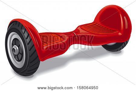 illustration of electrical red modern wheel gyroboard