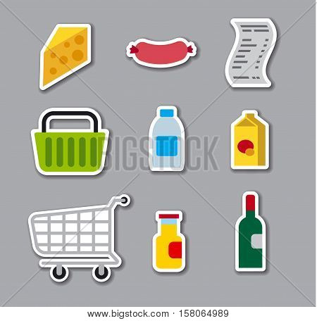set of grocery supermarket stickers foods and basket