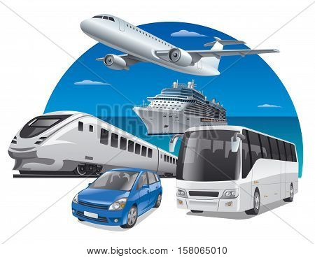 transport for travel car train bus cruiser and airplane
