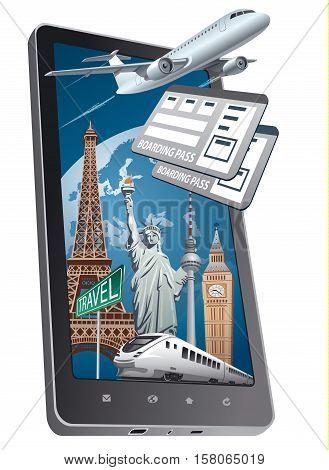 concept illustration of online shop service for travel