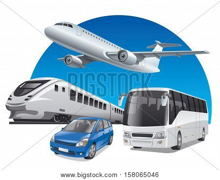illustration of transport for travel car train bus and airplane