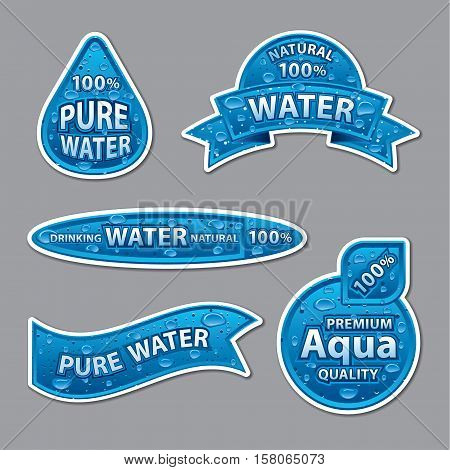 set of natural clear water labels and stickers