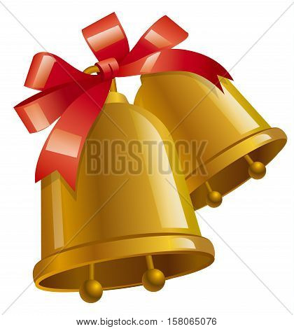 illustration of happy christmas bells with ribbon