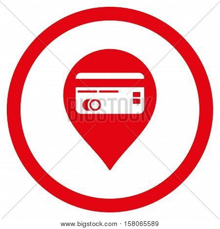 Credit Card Pointer vector rounded icon. Image style is a flat icon symbol inside a circle, red color, white background.