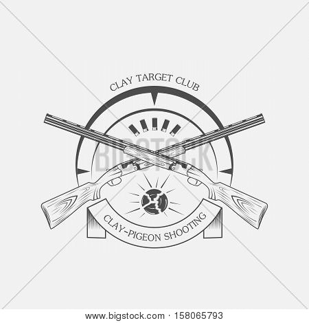 vintage clay target and gun club labels. Clay skeet vector