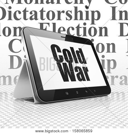 Political concept: Tablet Computer with  black text Cold War on display,  Tag Cloud background, 3D rendering