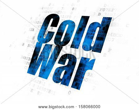 Political concept: Pixelated blue text Cold War on Digital background