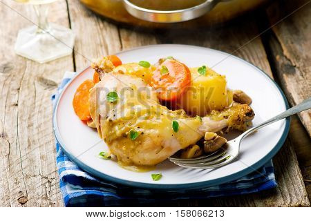 Braised Chicken with Vegetables . selective focus