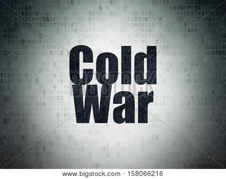 Political concept: Painted black word Cold War on Digital Data Paper background
