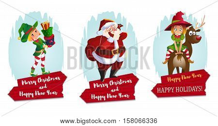 Christmas characters set. Santa Claus, elves and reindeer. red wooden banner. isolated on white.