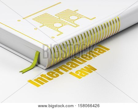 Political concept: closed book with Gold Election icon and text International Law on floor, white background, 3D rendering