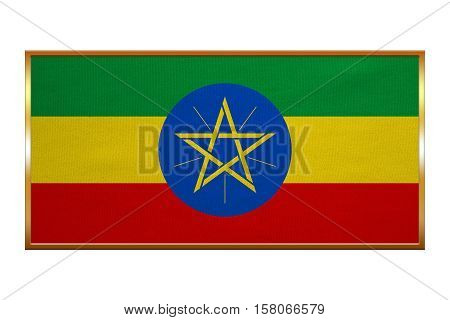Ethiopian national official flag. African patriotic symbol banner element background. Correct colors. Flag of Ethiopia golden frame fabric texture illustration. Accurate size colors