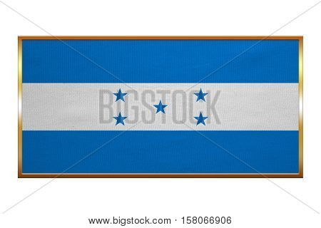 Honduran national official flag. Republic of Honduras patriotic symbol banner element background. Correct colors. Flag of Honduras golden frame fabric texture illustration. Accurate size colors