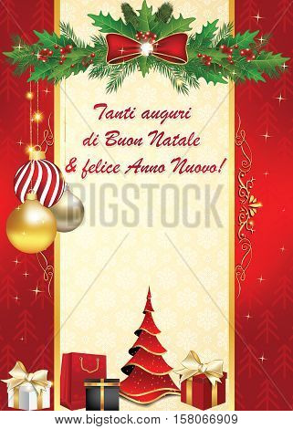 Italian elegant greeting card for winter holiday. We wish you Merry Christmas and Happy New Year - Italian language: Tanti auguri di Buon Natale & felice Anno Nuovo.  Print colors used. Custom size