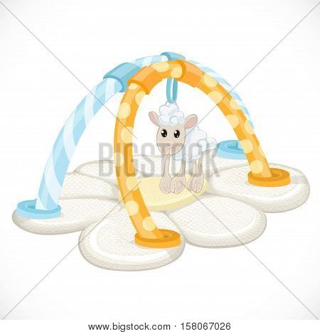 Changing mat in the form of chamomile and a children's toy lamb in blue and yellow colors isolated object on a white background