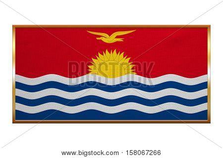 Kiribati national official flag. Patriotic symbol banner element background. Correct colors. Flag of Kiribati golden frame fabric texture illustration. Accurate size colors