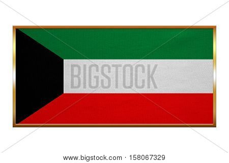 Kuwait national official flag. Patriotic symbol banner element background. Correct colors. Flag of Kuwait golden frame fabric texture illustration. Accurate size colors