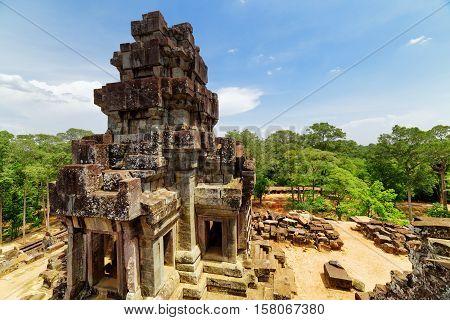 Top View Of Ancient Prang At Ta Keo Temple. Angkor, Cambodia