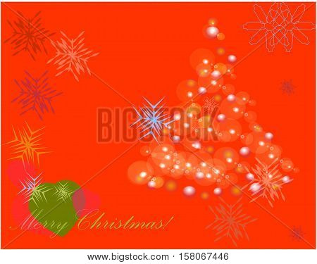 Red Greeting Christmas tree new year holiday sign green heart