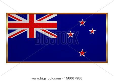 New Zealand national official flag. Patriotic symbol banner element background. Correct colors. Flag of New Zealand golden frame fabric texture illustration. Accurate size colors
