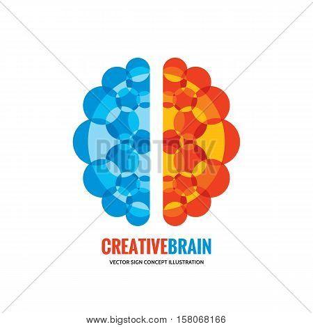 Human brain - vector logo template concept illustration. Mind sign. Education thinking symbol. Creative idea icon. Left and right hemispheres.