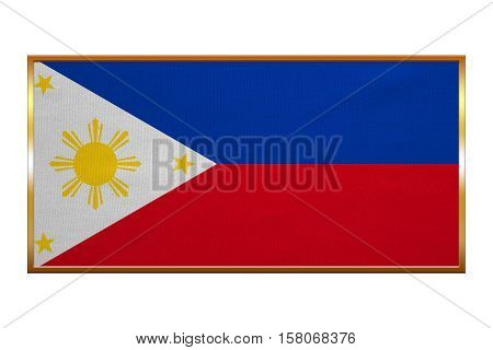 Philippine national official flag. Patriotic symbol banner element background. Correct colors. Flag of the Philippines golden frame fabric texture illustration. Accurate size colors. 3D Illustration.