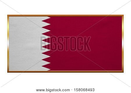 Qatari national official flag. Patriotic symbol banner element background. Correct colors. Flag of Qatar golden frame fabric texture illustration. Accurate size colors