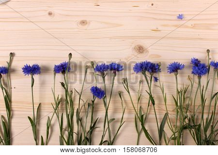Blue cornflowers on light wooden background. Mockup.