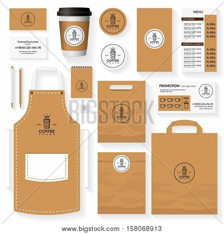 Coffee house corporate identity template design set with coffee house logo and glass of coffee. Restaurant cafe set card flyer menu package uniform design set. Stock vector