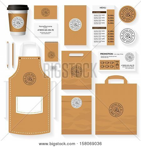 Coffee shop corporate identity template design set with coffee shop logo and coffee bean. Restaurant cafe set card flyer menu package uniform design set. Stock vector